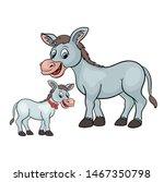 Cute Cartoon Donkey And Baby...