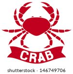 crab label (crab silhouette, crab icon, crab sign, crab symbol) - stock vector
