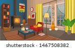 cozy autumn living room with... | Shutterstock .eps vector #1467508382