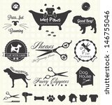 Vector Set: Pet Grooming Labels - stock vector