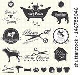 Stock vector vector set pet grooming labels 146755046