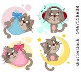 set of icons with cats. newborn ... | Shutterstock . vector #1467558638