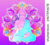 sitting buddha silhouette over... | Shutterstock .eps vector #1467593678