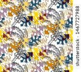 seamless pattern tropical...   Shutterstock . vector #1467727988