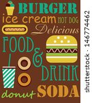cute fast food card design.... | Shutterstock .eps vector #146774462