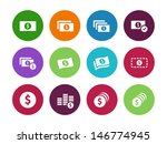 dollar banknote circle icons on ...