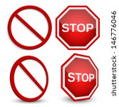 stop sign  forbidden circle... | Shutterstock .eps vector #146776046