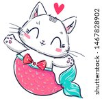 Stock vector kitten mermaid and heart isolated on white background hand drawn fantasy cute cat vector 1467828902