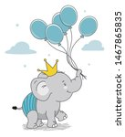 Stock vector happy elephant with crown and balloons isolated vector 1467865835