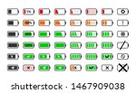 Stock vector battery charge icons powered indicator charging empty batteries and low battery power icon 1467909038