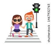 kid boy help blind friend cross ... | Shutterstock .eps vector #1467932765