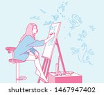 a woman painting on an easel.... | Shutterstock .eps vector #1467947402