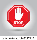 red stop sign with hand. vector ... | Shutterstock .eps vector #1467997118