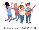 teenagers friends playing...   Shutterstock .eps vector #1468113188