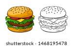 hamburger vector illustration.... | Shutterstock .eps vector #1468195478