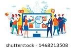 cartoon man and woman team work ... | Shutterstock .eps vector #1468213508