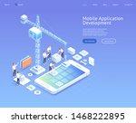 mobile application development... | Shutterstock .eps vector #1468222895