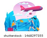 cheap flights banner. plane is...   Shutterstock .eps vector #1468297355