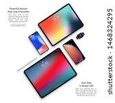 devices set of smartphones ...   Shutterstock .eps vector #1468324295
