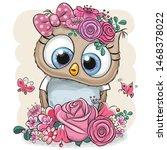 Cute Cartoon Owl With Flowers...
