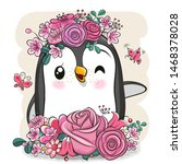 cute cartoon penguin with... | Shutterstock .eps vector #1468378028