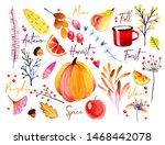 watercolor autumn banner.... | Shutterstock .eps vector #1468442078