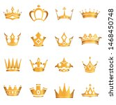 set of gold crowns. vector | Shutterstock .eps vector #1468450748
