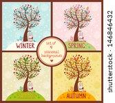 set of 4 seasonal backgrounds... | Shutterstock .eps vector #146846432
