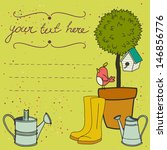 card template with potted tree  ... | Shutterstock .eps vector #146856776