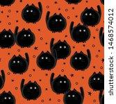 Stock vector halloween spooky cats seamless pattern on orange background funny fat cat halloween pattern 1468574012
