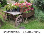 Old Wooden Vintage Trolley With ...