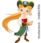 girl dressed as a pirate  | Shutterstock .eps vector #146861906