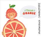 cute kid dressed in fruit... | Shutterstock .eps vector #1468629392