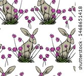Stock vector vector seamless pattern with hand drawn cute hares smelling pink flowers made with ink perfect 1468651418