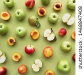 green apples and peaches on a... | Shutterstock . vector #1468847408