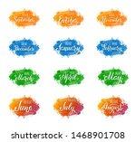 set of handwritten names of... | Shutterstock . vector #1468901708
