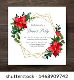 christmas red poinsettia ... | Shutterstock .eps vector #1468909742