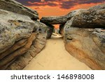 Sunset Scene In Stone Desert