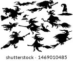 witches silhouette set of... | Shutterstock . vector #1469010485
