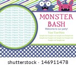 monster party invitation card...