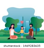parents couple with little... | Shutterstock .eps vector #1469283635