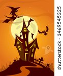 cartoon haunted house.... | Shutterstock . vector #1469545325