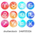 Watercolor Zodiac Icon Set ...