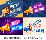 Stock vector now hiring banner we are hiring join our team and vacancy announcement flyer template 1469571242