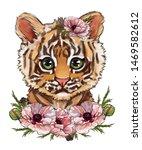 Cute Tiger In Poppy Flowers. ...