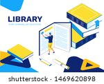 library isometric landing page  ...   Shutterstock .eps vector #1469620898