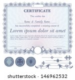 vector blue certificate or... | Shutterstock .eps vector #146962532