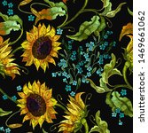 embroidery summer flowers and... | Shutterstock .eps vector #1469661062