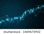 Abstract glowing blue forex chart background. Currency and trader concept. 3D Rendering  - stock photo