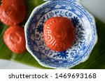 Stock photo ang ku kueh or red tortoise cakes are shaped to look like tortoise shells sweet and tasty with 1469693168